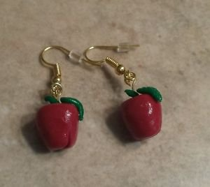 Apple Charm Wire Earrings  Kids Jewelry  Clay Charms  Teacher Gift Earrings