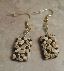 Cute Granola Bar Charm Earrings Clay Charms Food Snack Wires Miniatures