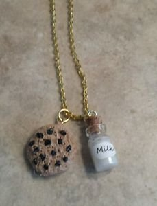 Cookies and Milk Clay Charm Necklace Jewelry Clay Charms Miniature Food