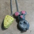 Cute Mouse & Cheese Charm Necklace Clay Charms Kids Animal Silver Necklace