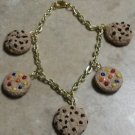 Cute Cookie Charm Bracelet Clay Charms Bracelet Kids Cookies Snack Goldtone