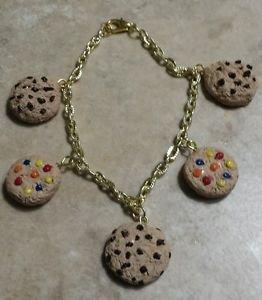 Cute Cookie Charm Bracelet Clay Charms Bracelet Kids Cookies Snack Goldtone