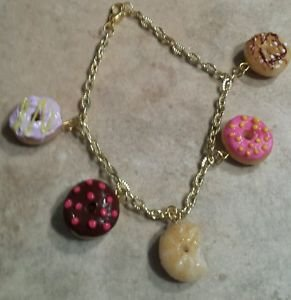 Cute Donut Lover's Charm Bracelet Food Charms Clay Donut Bracelets