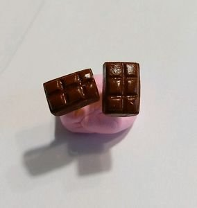 Miniature Chocolate Bar Studs Candy Clay Charms Studs Goldtone Kids