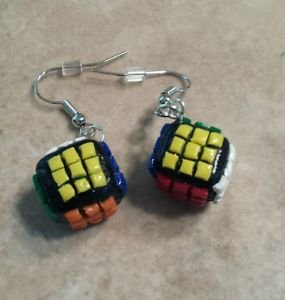 Cute Silver Wire Rubik's Cube Charm Earrings Clay Charms Kids Toy Miniature Wire