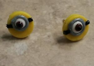 Minion Stud Earring Character Kids Fun Jewelry Clay Charm Silver Post