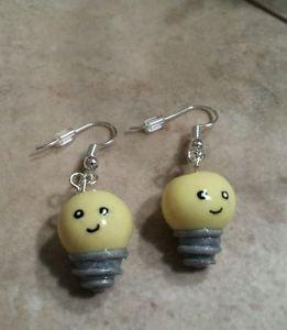 Unique Glow Light Bulb Earrings Kids Glow Wires Kawaii Silver