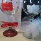 Cute Naughty/Nice Wine Glass Set Barware Christmas Wine Gifts Glassware Set