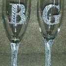Rhinestone Bride & Groom Champagne Glasses. Barware Weddings Glass Gifts Unique