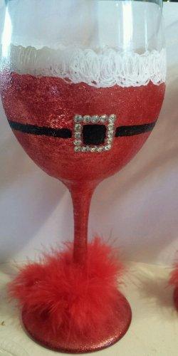 Festive Mrs. Santa Wine Goblet Glassware Christmas Barware Wine Gifts Unique