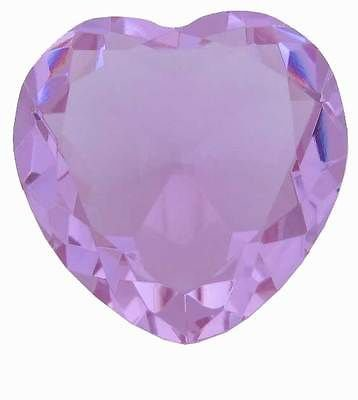 80 mm 3.15 inch solid crystal light purple glass HEART paperweight,