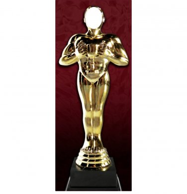 Award Statue Standup Cutout Head Cut Out Golden Man Funny Cardboard Poster