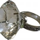 "CLEAR DIAMOND GLASS NAPKIN HOLDER & PAPERWEIGHT W/BEJEWELED SILVER RING (2.5"")"