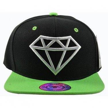 Diamond Black Hat Green Brim White Embroidered Snapback Hat Adjustable Strap