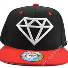 Diamond Black Hat Red Brim White Embroidered Snapback Hat Adjustable Strap