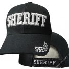 Sheriff Black Hat White Embroidered Snapback with Adjustable Velcro Strap