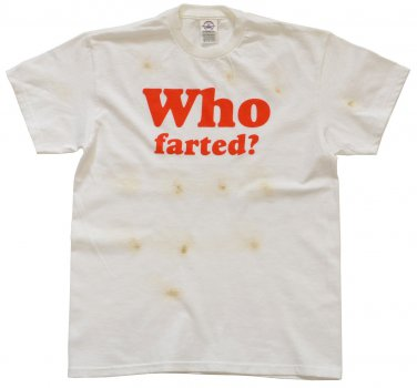 Who Farted Burnt Brown Stained Hilarious Funny Goofy White T-Shirt size XL