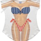 Stars and Stripes Bikini  Cover-Up  PLUS   SIZE T-Shirt Sexy Flirty Funny Silly Crazy Summer Fun