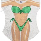 Mermaid Scales Bikini  Cover-Up  PLUS    SIZE T-Shirt Sexy Flirty Funny Silly Crazy Summer Fun