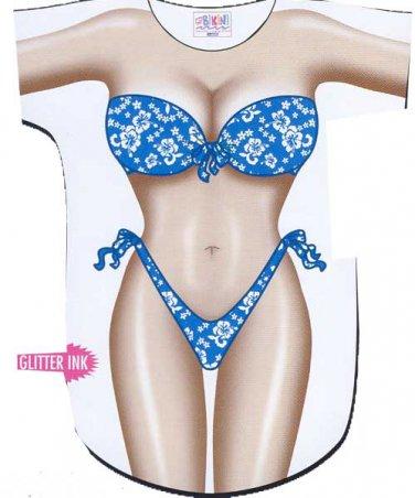 Teal Flowers Bikini  Cover-Up T-shirt  REG   SIZE T-Shirt Sexy Flirty Silly Crazy Summer Fun