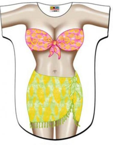 Tropical Girl Sarong Cover-Up T-Shirt  PLUS  SIZE T-Shirt Sexy Flirty Silly Crazy Summer Fun