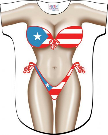 Puerto Rican Bikini Cover-Up T-Shirt  REG  SIZE T-Shirt Sexy Flirty Silly Crazy Summer Fun
