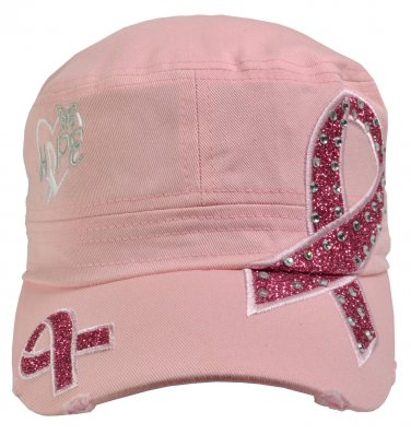 Breast Cancer Awareness Hat Hope Light Pink rhinestone