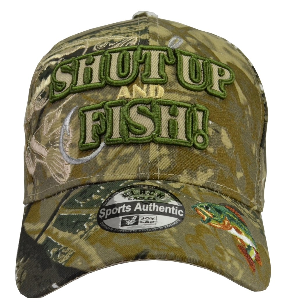 b64b329cd0db1 SHUT UP and FISH camo hat fully embroidered with bass cap hat Fisherman  giftbass