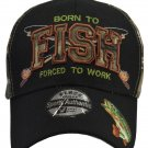 Born to FISH Forced to work fully embroidered black hat with bass For Fisherman