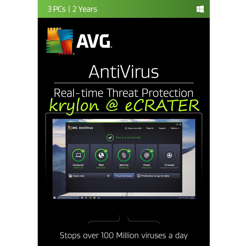AVG AntiVirus 2017 - 3 PCs - 2 Years - Digital Product Key
