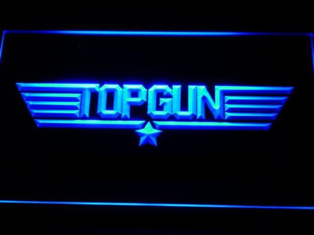 TOP GUN LED NEON LIGHT SIGN- Hollywood Theme Gift FREE SHIPPING