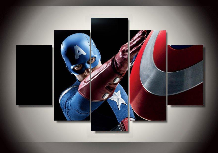 captain america superhero marvel comics framed 5pc oil
