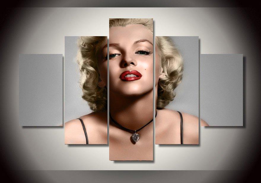 Marilyn Monroe Hollywood Movie star Legend Framed 5pc Oil Painting Wall Decor