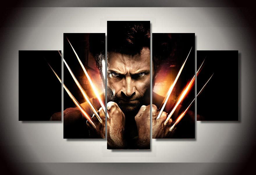 Wolverine Movie Framed 5pc Oil Painting Claws Wall Decor Superhero Marvel DC