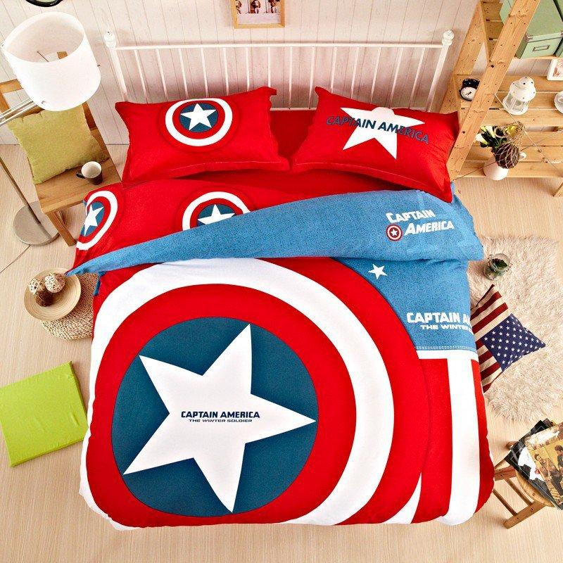 captain america super hero design bedding cover set