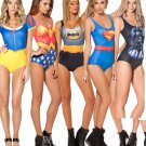 Superhero Women One Piece Bathing suit Swimwear Batman, Wonderwoman, Superman, Alice