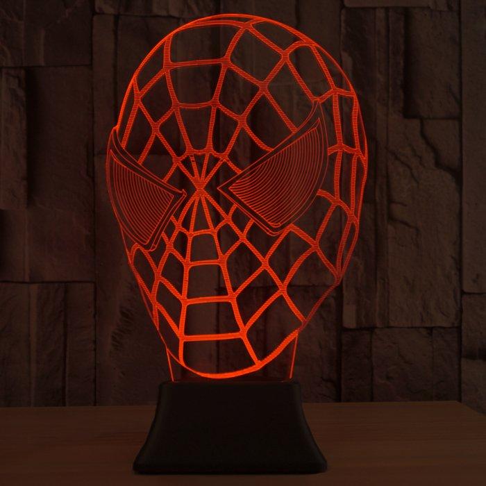 Spiderman 3D LED Light Lamp Tabletop SuperHero Decor 7 Colors -NEW