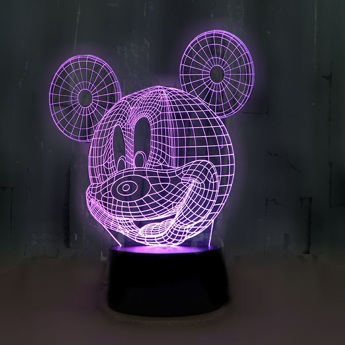 Mickey Mouse 3D LED Light Lamp Tabletop Decor 7 Colors -NEW