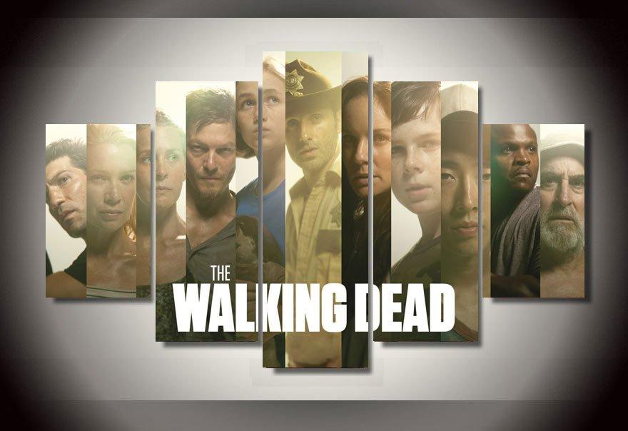The Walking Dead Cast 5pc Wall Decor Framed 2 Oil painting Horror TV