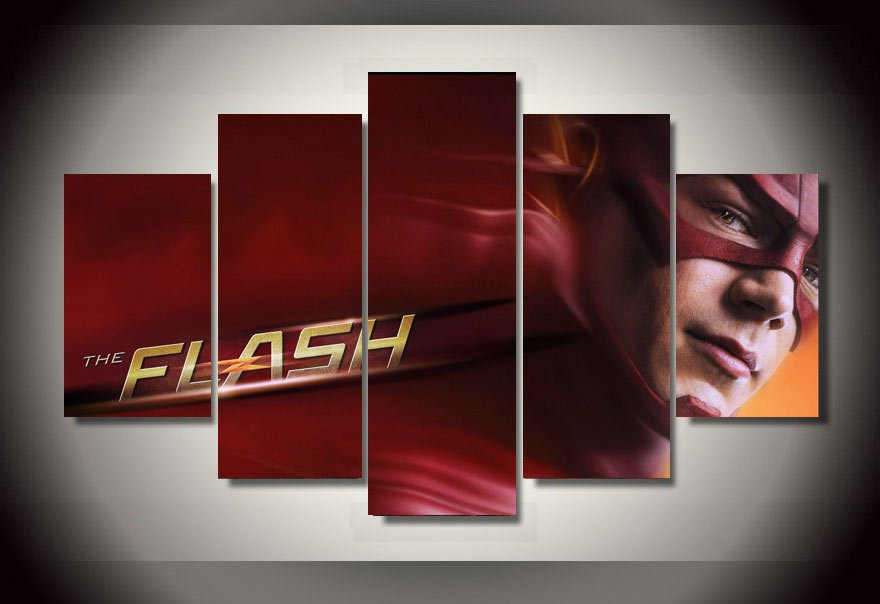 The Flash Marvel 5pc Wall Decor Framed Oil Painting