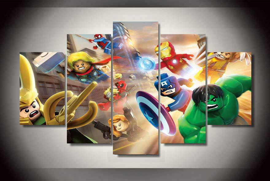 Lego Superheros Character 5pc Wall Decor Framed Oil Painting