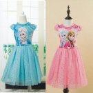Elsa Anna Frozen Ball Gowns Girls Dress Kids 2T, 3T, 4T, 5-10 BLU/PNK