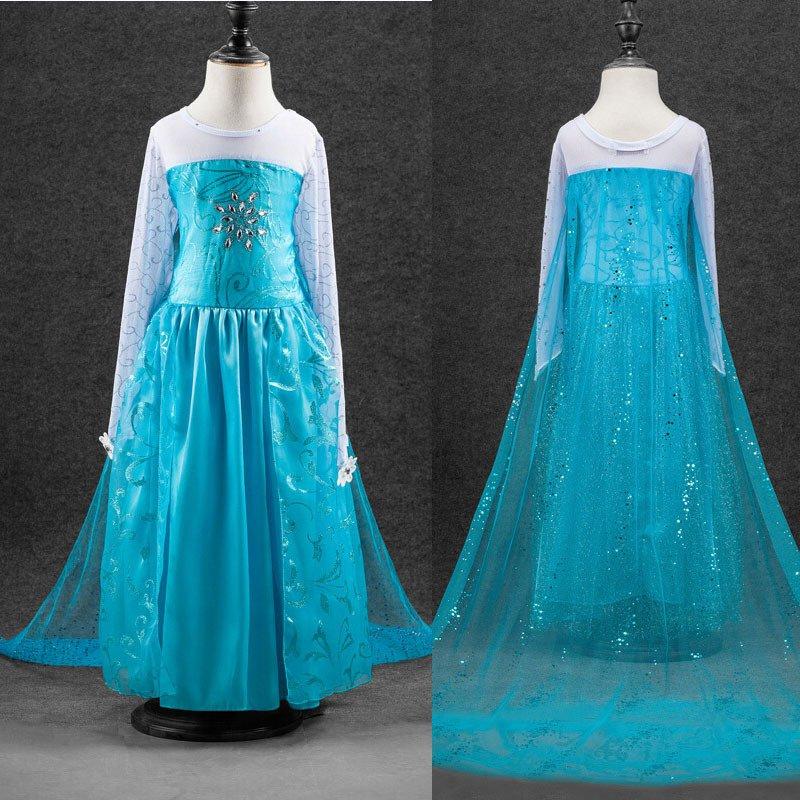 New Elsa Frozen Princess Blue Character Dress Costume SZ 2T,3T, 4 THRU 13- FREE SHIPPING