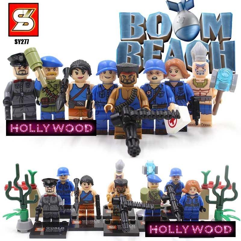 Boom Beach 8pc Mini Figures Building Blocks Minifigures Block Build Set