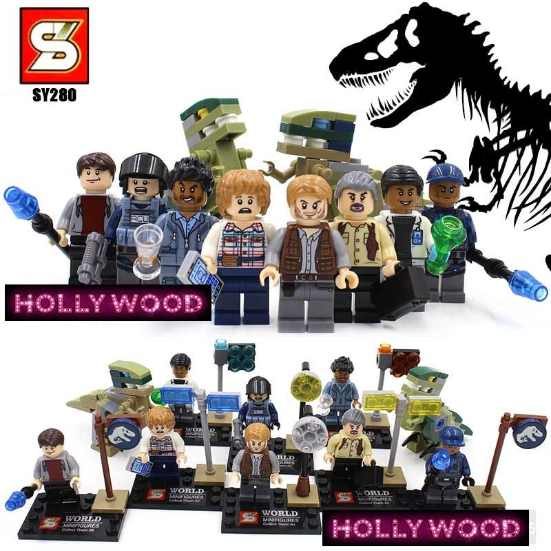 Jurassic Park 8pc Mini Figures Building Blocks Minifigures Block Build Set