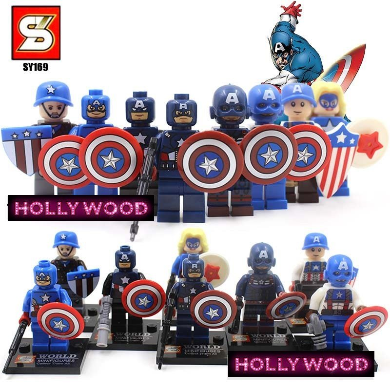Captain America 8pc Mini Figures Building Blocks Minifigures Block Build Set