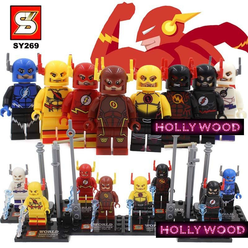 The Flash DC Marvel 8pc Mini Figures Building Blocks Minifigures Block Build Set