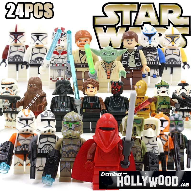 Star Wars 24pc Mini Figures Building Blocks Minifigures Block Build Set Yoda Red Clone Chubacca
