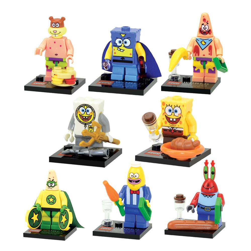 Spongebob 8pc Mini Figures Building Blocks Minifigures Block Build Set Featured