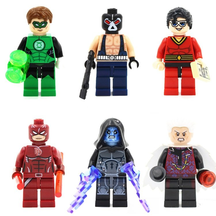 Daredevil Bane Green Lantern 6pc Collectors Superhero Mini Figures Building Blocks Minifigures set
